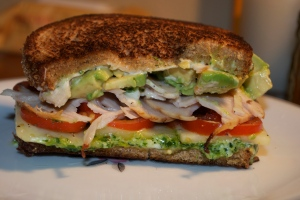 Chicken, Avocado, Tomato & Pesto on Whole Wheat