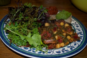 Chickpeas & Chard in Tomato Sauce, Seven-Green Salad, Almond-Arugula Pesto and Roasted Red Pepper Dip